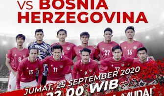 Jadwal Live Streaming Friendly Match Timnas U-19 Indonesia vs Bosnia Herzegovina Malam Ini