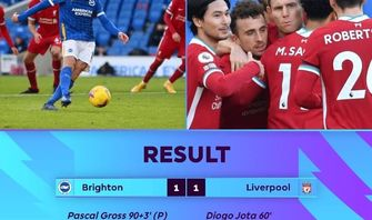 Brighton & Hove Albion Tahan Imbang Liverpool 1-1 di Injury Time