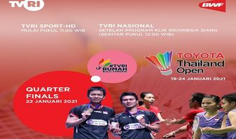 SEDANG TAYANG! Link Live Streaming Toyota Thailand Open 2021: Ada 3 Wakil Indonesia